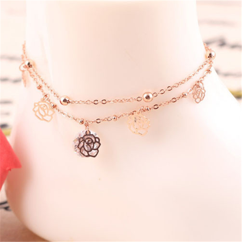 1X Sexy Crystal Double Layer Gold Plated Anklets for Women Hollow Rose Flower Ankle Bracelet Barefoot
