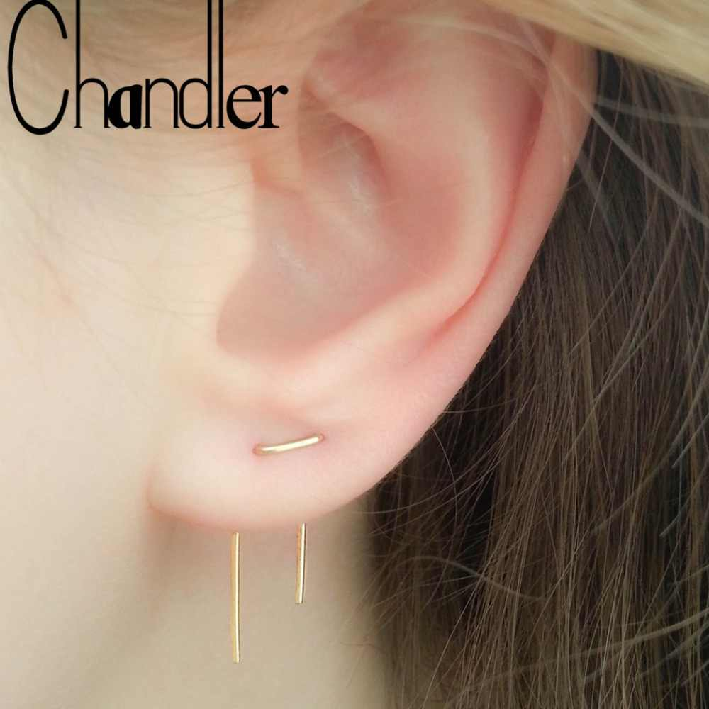 Chandler Handmade Two Hole Asymmetrical Length Creative Double Piercing Oorbellen Pendientes Earrings V Shape Wire Earring