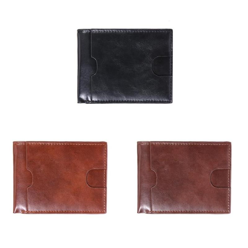 MOJOYCE Fashion Business Men Card Holder Purse PU Leather Wallet Coin Bags Solid Coins Money Wallet Vintage Unisex Purse цена