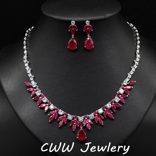 Beautiful Red and White CZ Diamond Big Wedding Accessories Necklace Earrings Bride Jewelry Sets For Brides Evening Party  (T106)