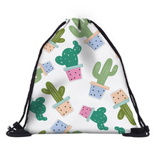 2019 Mutilcolor Fashion Custom Drawstring Bags with Printing cactus String Backpack For Girls Boys MEN Women Teenager kids