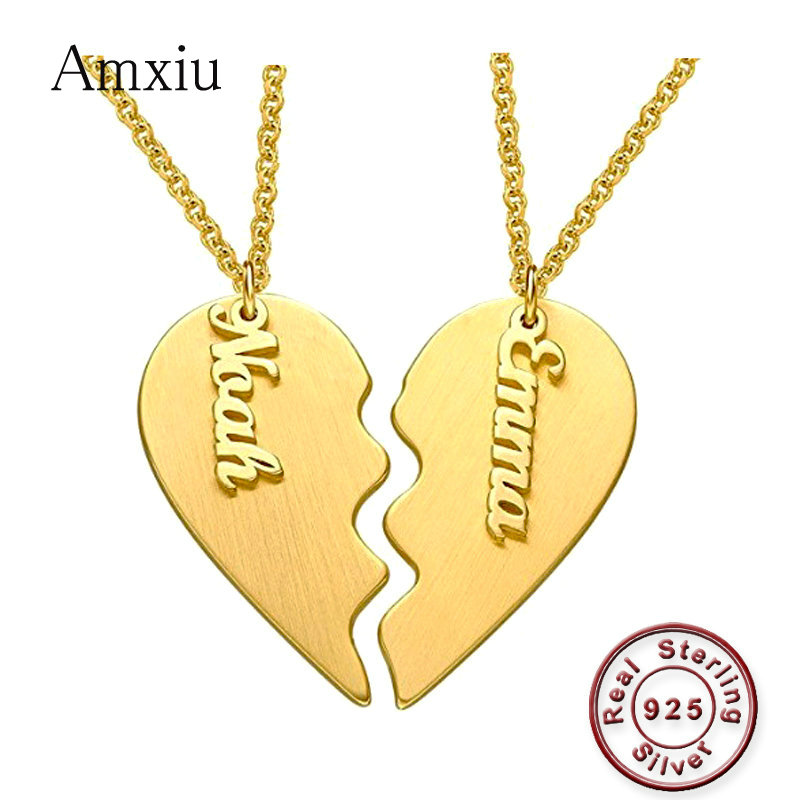 Amxiu deux pièces amour coeur aile collier 925 en argent Sterling gravé deux noms collier pendentif bijoux personnalisés pour amoureux cadeau