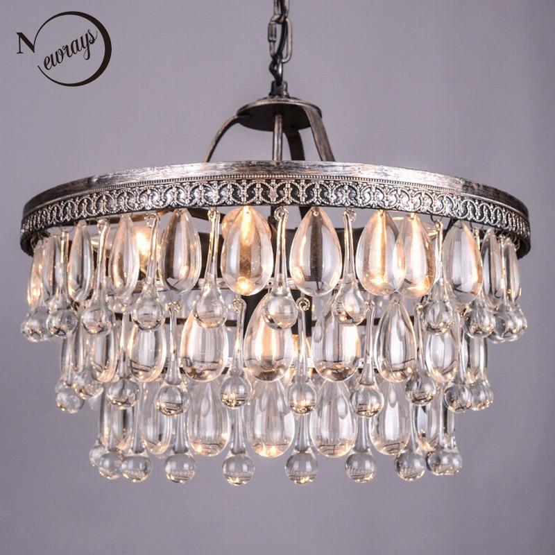 Vintage Big Glass Drops Led Crystal Iron Lustres Chandeliers Pendants Modern E14 Hanging Lamp For Kitchen Living Room Bedroom