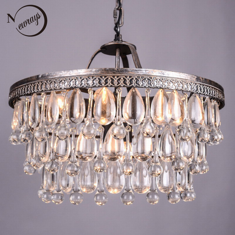 Vintage Grande Gouttes de Verre Led Cristal Fer Lustres Lustres Pendentifs Moderne E14 Lampe Suspendue Pour Cuisine Salon Chambre