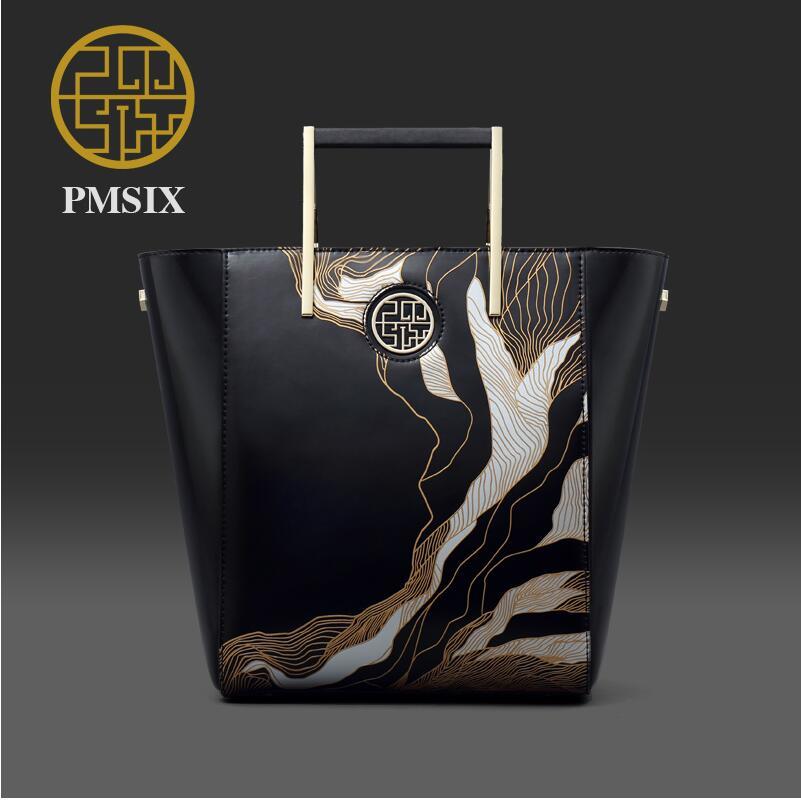 Genuine Leather Women bag Pmsix 2016 new fashion carved art handbag Retro bucket bag все цены