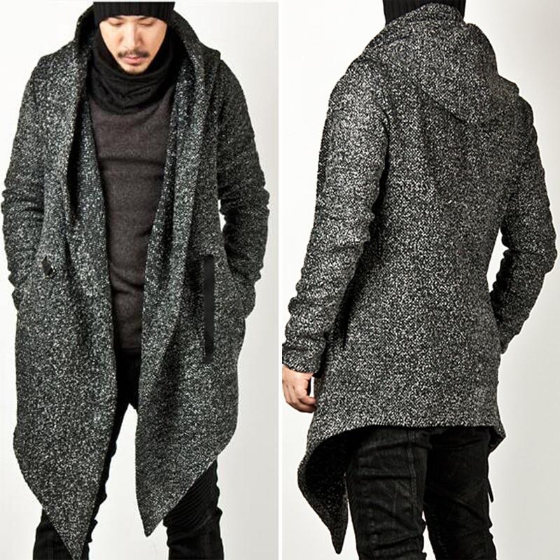 f9b49279dfa7 US $57.41 13% OFF|Neue Beiläufige Mens Tragen Wolle Avant garde Stil  Diabolic Haube Holzkohle Cape Mantel Trendy Herren Tops Jacke Outwear  Herren ...