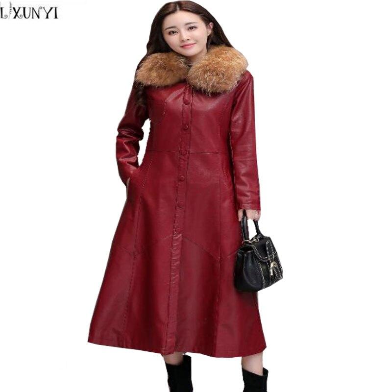 LXUNYI Autumn Really Raccoon Fur Long   Leather   Trench Coat Women Korean Elegant Slim Woman Winter   leather   Coats With Fur Big Size