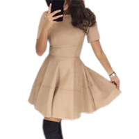 Suede Ball Gown Flared Mini Dress 2017 New Arrival Short Sleeve O Neck Women Cute Dresses