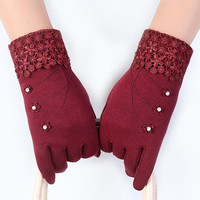 Fashion Screen Woman Gloves Winter Fur Mittens Ladies Luxury Outdoor Hand Warmer Gym Gloves Women Guantes
