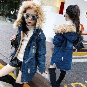 Image 1 - 2020 children kids girls denim jacket large fur collar cotton denim outerwear Autumn Winter plus thick velvet jacket for girls