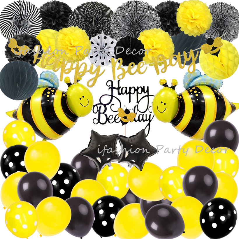 <font><b>Bee</b></font> Theme Happy Birthday <font><b>Party</b></font> <font><b>Supplies</b></font> Decorations Paper Flower Balls Honeybee <font><b>Party</b></font> Balloon for Wedding Christening&Baptism image