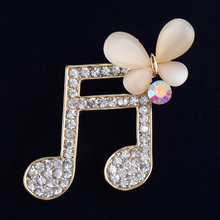 [BFQ]Music Note Brooch For Women 2017 Opal Jewelry Brooh Crystal Zinc Alloy Korean Women Broches As Gifts For Best Friends(China)