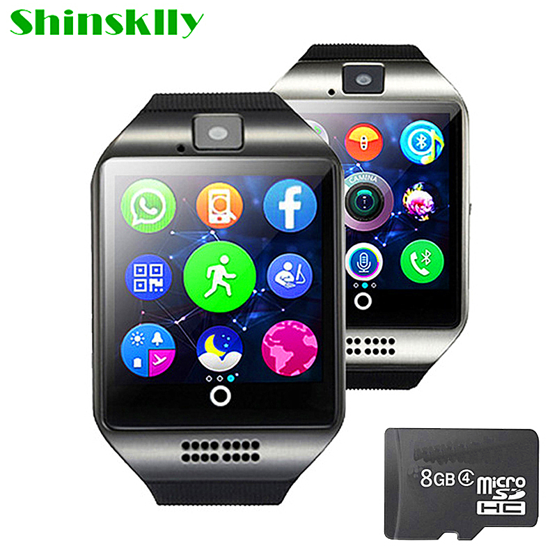 Smart Uhr MÄNNER FRAUEN Q18 Mit Kamera Bluetooth Armbanduhr Unterstützung SIM Tf-karte Sync SMS Smartwatch Für Ios Android Handys PK A1