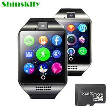 Дешевые Смарт-часы мужские и женские Q18 с Камера Bluetooth наручные часы Поддержка SIM TF карты синхронизации SMS Smartwatch для Ios телефонах Android PK A1