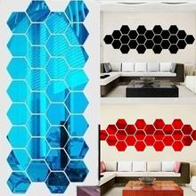 New Arrival 12Pcs Geometric Hexagon 3D Mirror Effect Wall Stickers DIY Home Decorations & Posters