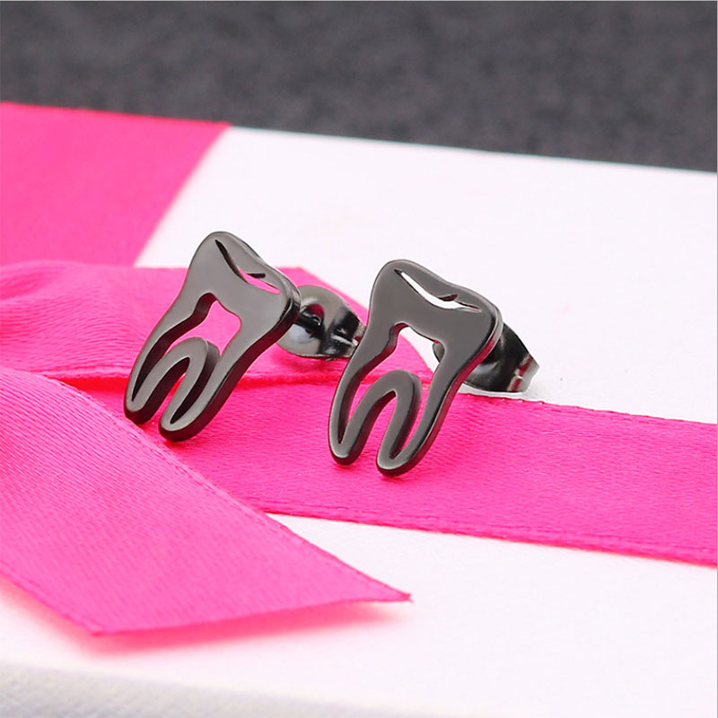 1Pair Funny Tooth Earrings Studs Stainless Steel Earring Dentist Women Men Hiphop Ear Stud Jewelry