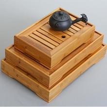 Горячая 3 размера чайный набор кунг-фу натуральный бамбук Чайный Лоток Прямоугольный традиционный бамбуковый пуэр чайный столик