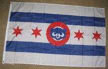 Chicago Cubs Cubby Bear With Stars Nylon Indoor Outdoor High Quality Football Flag 3X5 Custom flag