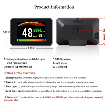 2019 P16 3 Inch LCD HUD obd2 Car Head Up Display Auto Intelligent On-Board Computer Car Speedometerhud Display Car Electronics