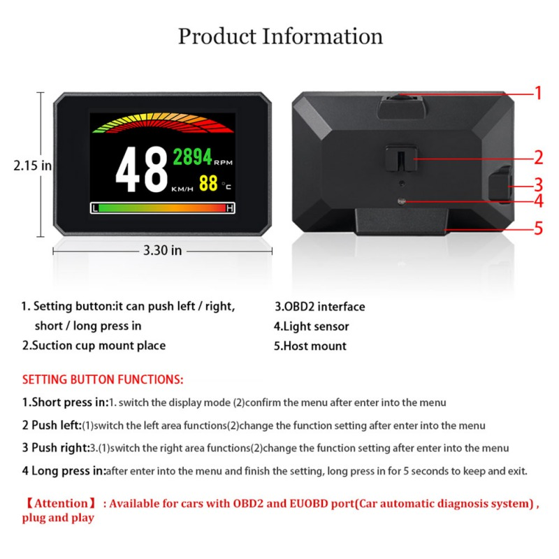 2019 P16 3 Inch LCD HUD obd2 Car Head Up Display Auto Intelligent On Board Computer Car Speedometerhud Display Car Electronics
