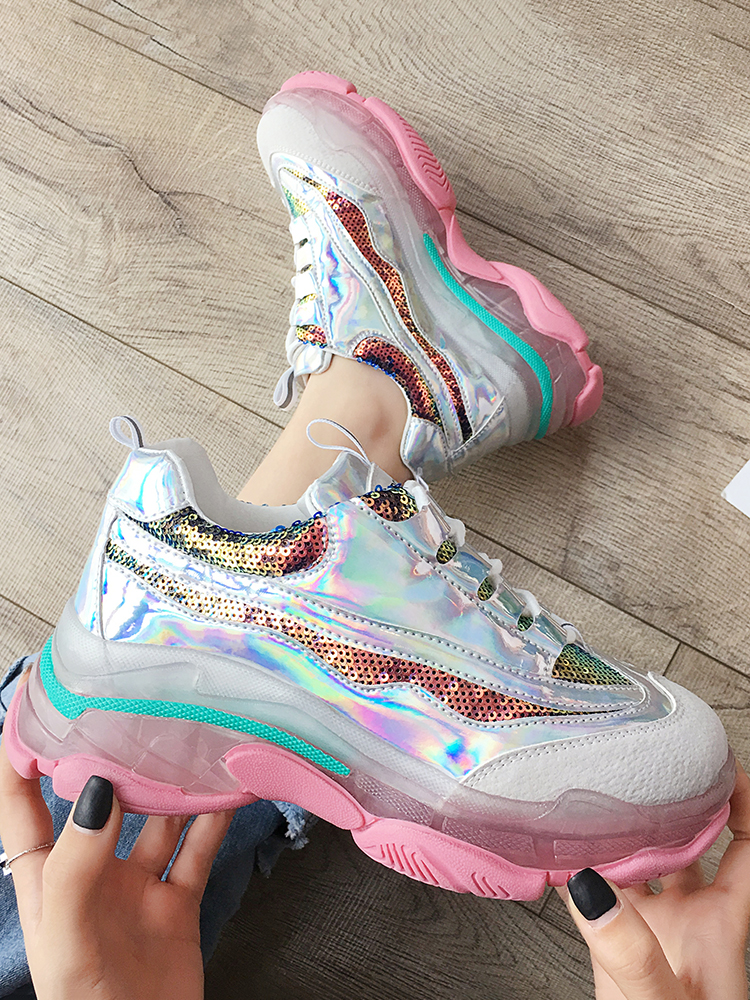 New trend thick-soled sequin women's casual shoes fashion wild wedge women's shoes.