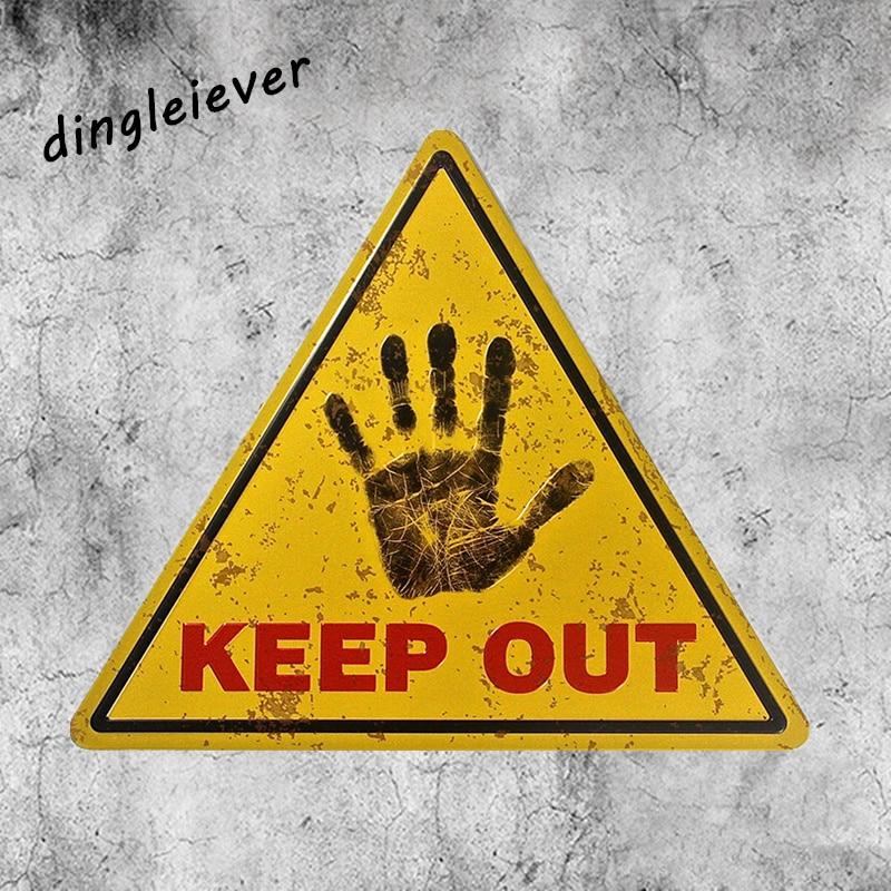 """""""Keep out"""" Figyelmeztető jelek Ónjelek Háromszög Poszter hálószoba Pub Otthoni dekoráció Kézműves falfestés NA18"""