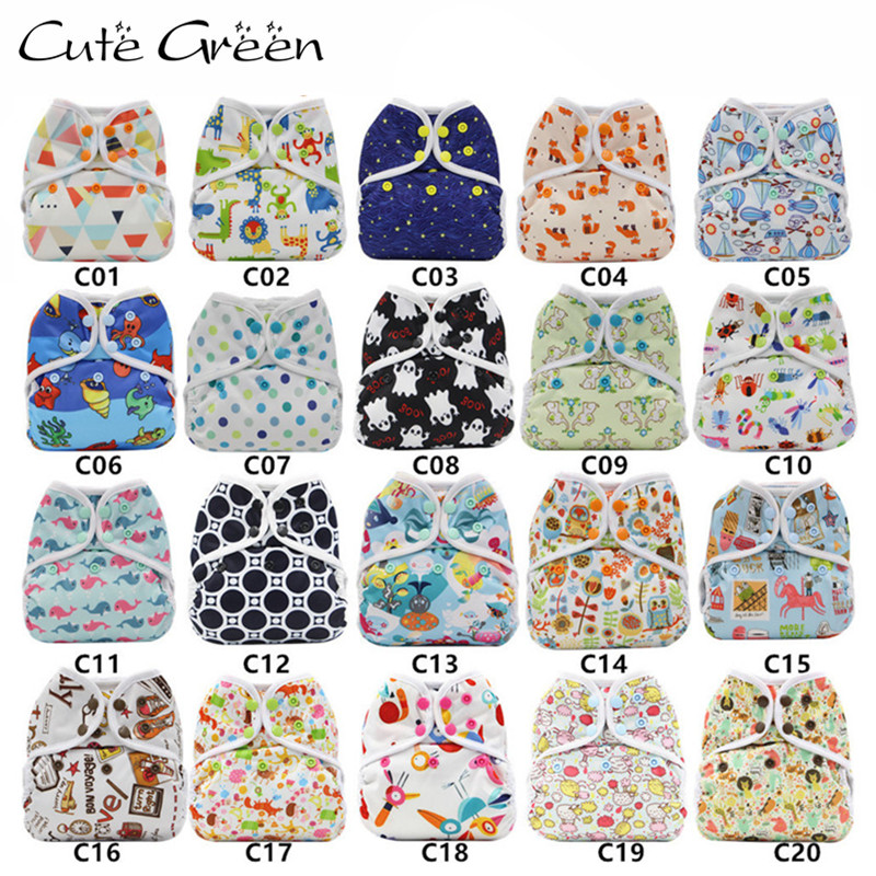 Cute Green Wholesale Baby Reusable Diaper Cover Polyester Waterproof PUL Washable Baby Nappies Cloth Diapers