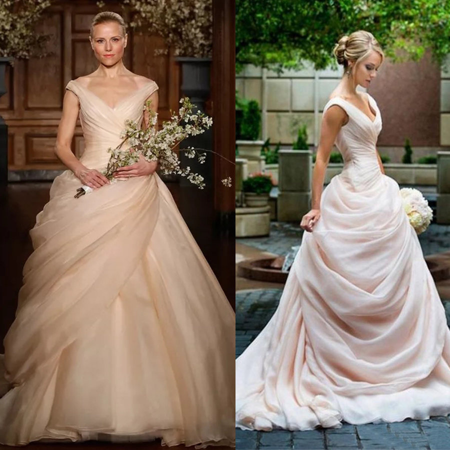 Blush Pink Pick Up Ball Gown Wedding Dresses Long V Neck Side Draped Princess Bride Bridal