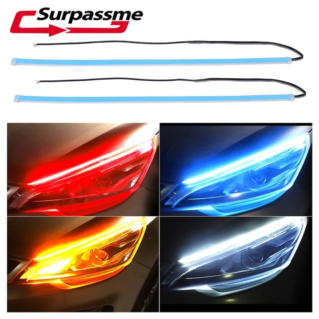 2pcs Car DRL LED Daytime Running Lights 30CM/60CM Flexible Brake Guide Strip Headlight Car Headlight Fog Lamp Turn Signal Light
