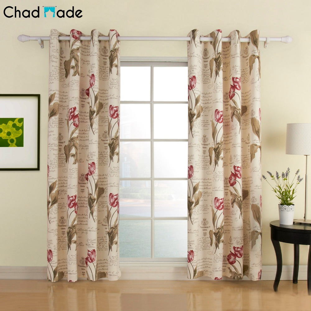 ChadMade Polyester Cotton Blend Flower Letter Printed Curtain For Living Room Blackout Lined Drape