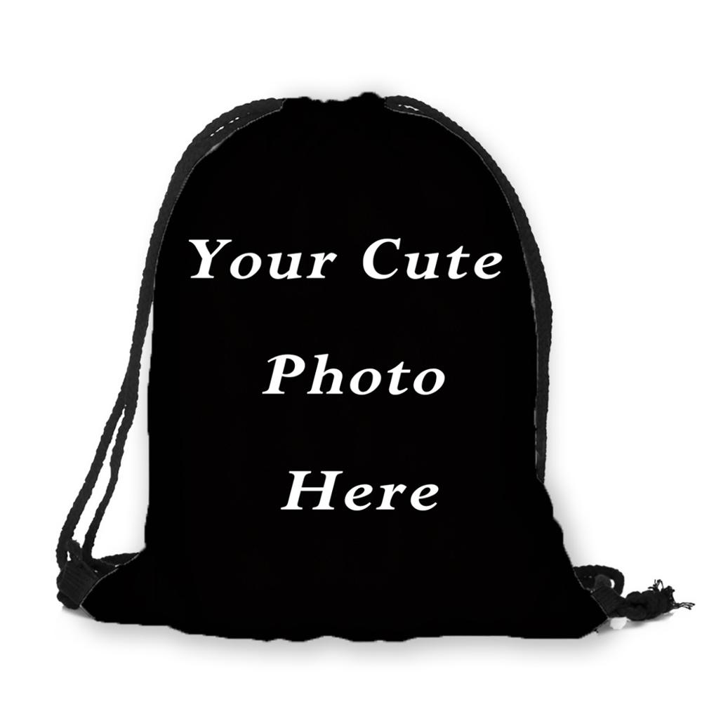 Personalized Image Photo Print Custom Individual Fabric Drawstring Bag Backpack Gift For School Girl 3D Printing Travel Softback