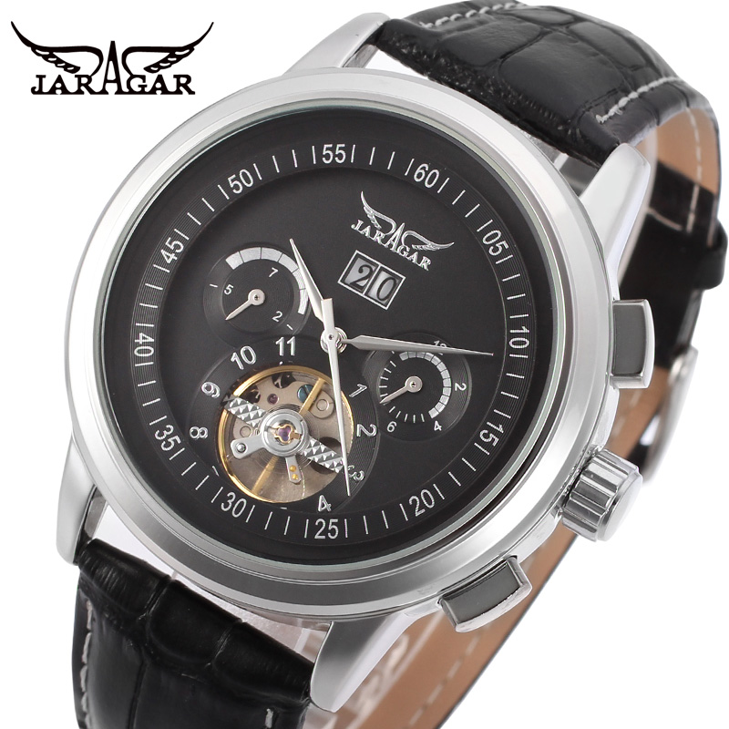 Jargar Automatic silver color men wristwatch tourbillon black leather strap free shipping JAG16557M3S1 jargar automatic men watch black genuine leather strap mechanical wristwatches silver color with gift box