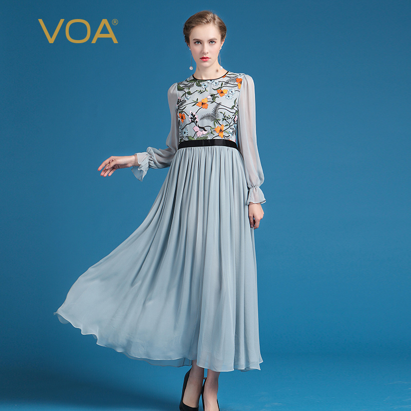 VOA Plus Size Silk Mesh Embroidery Women Maxi Beach Dress Chinese Style Flare Sleeve Chiffon Pleated Long Dress Spring ALX03301