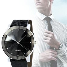 2017 Hot Stainless Steel Dial Clock Male Casual Quartz Watch Men Sport Wrist Men Watches Leather