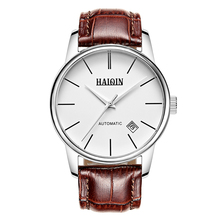 Mens Watches Top Brand Luxury HAIQIN 2016 Men Watch Fashion Waterproof Automatic Mechanical Leather Wristwatch relogio