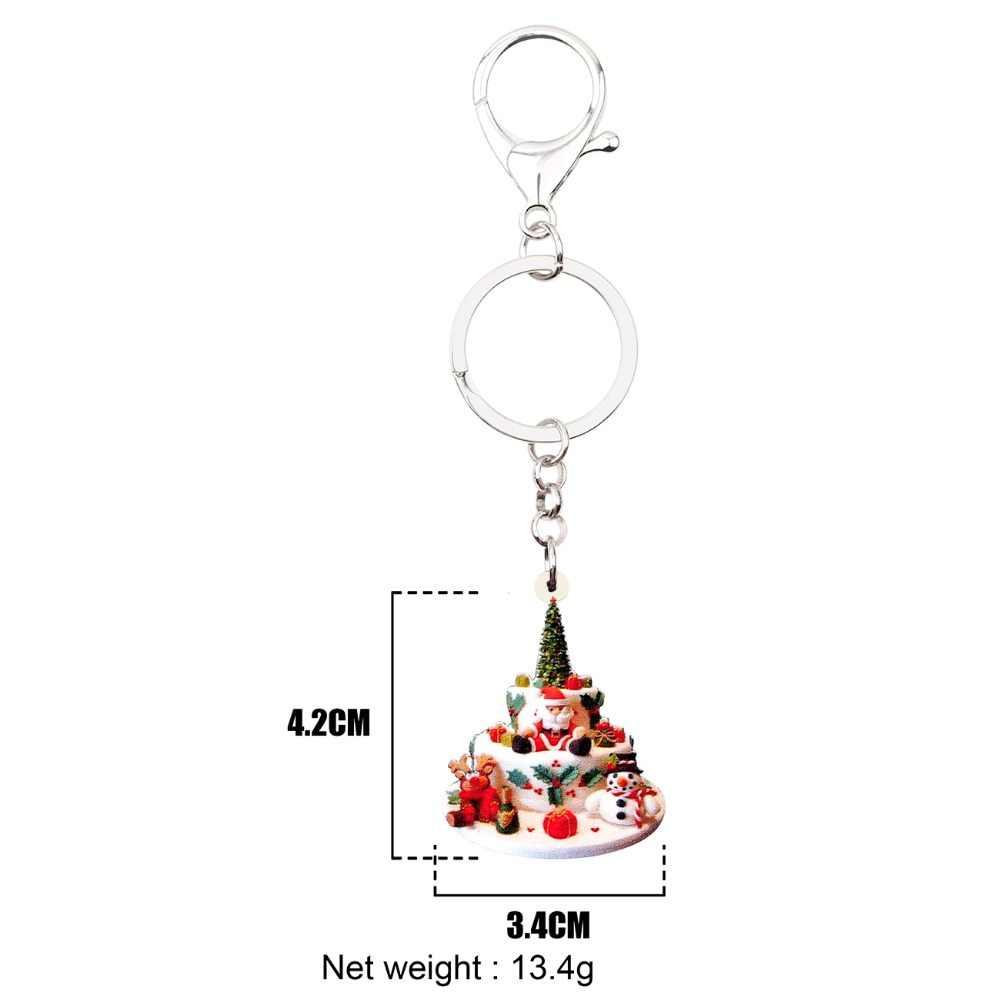 Bonsny Acrílico Árvore de Natal Papai Noel Boneco de Neve Bolo Chaveiro Keychain Bonito Navidad Natal Pingente de Jóias Para As Mulheres Meninas Tees