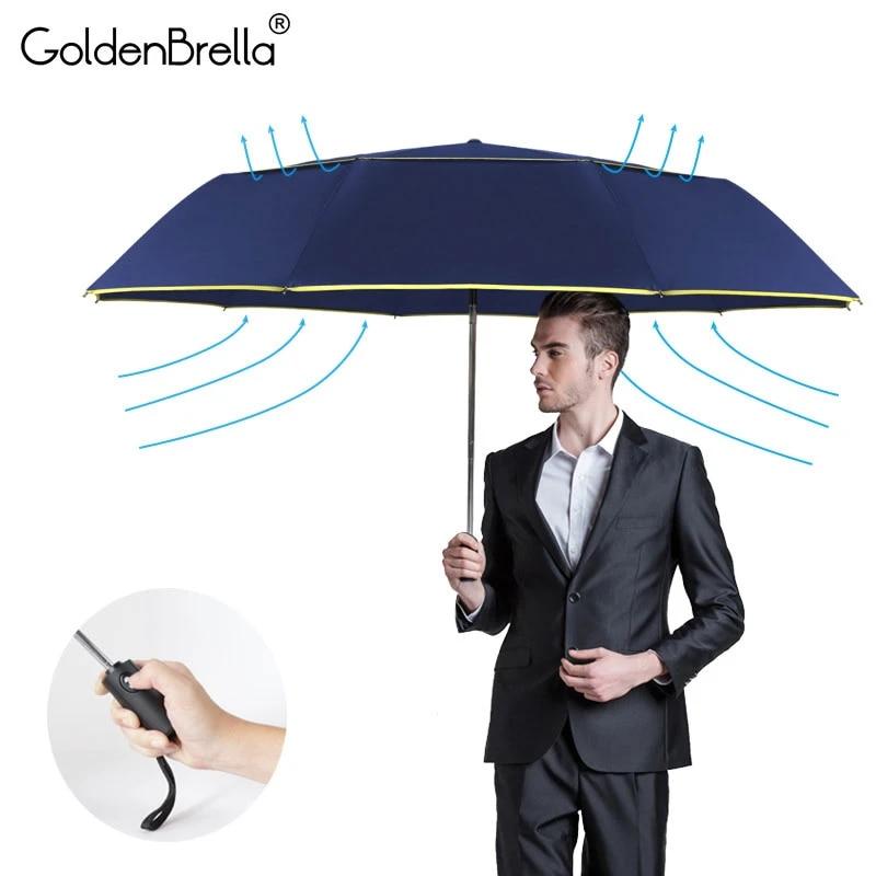 Goldenbrella ® 10 costillas fuerte resistente al viento Paraguas para hombre 3 plegable automático