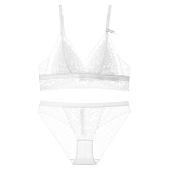 Varsbaby unlined wire free lingerie set three quarters underwear thin cup beauty back bra set 3