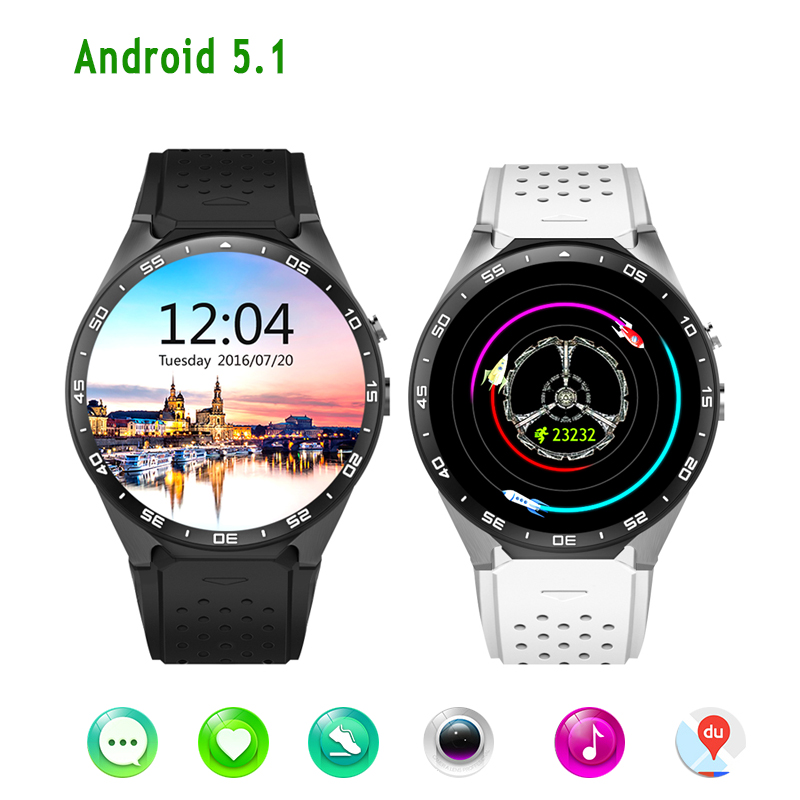 KW88 Android 5.1 Smart Watch Phone MTK6580 ROM 4GB + RAM 512MB 1.39 inch 400*400 Screen with 2.0MP camera 3G Wifi Smartwatch android 5 1 smart watch 1 54 inch hd curved screen 4gb