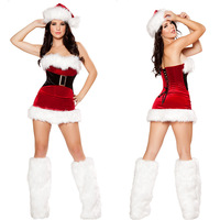Women S Sexy Christmas Festival Cosplay Costumes Female Pure Red Corduroy Halloween Uniform Role Playing For
