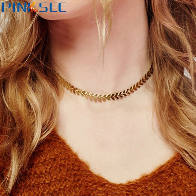 Hot Lady Leaves Arrow Thin Chain Choker Necklace For Women Punk Round Circle Collar Bijoux Neck Jewelry Gold Silver Plated
