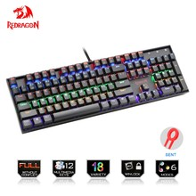 Redragon Rainbow USB Mechanical Gaming Keyboard Ergonomis LED Backlit Kunci Kunci Penuh Anti-Ghosting 104 Kunci Komputer Pc Permainan(China)