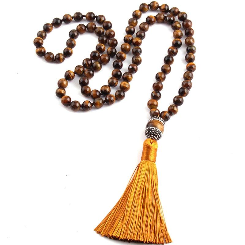 Fashion Bohemian Tribal Jewelry Tiger Eye Stones Beads Knotted Handmake Paved Tassel Nec ...