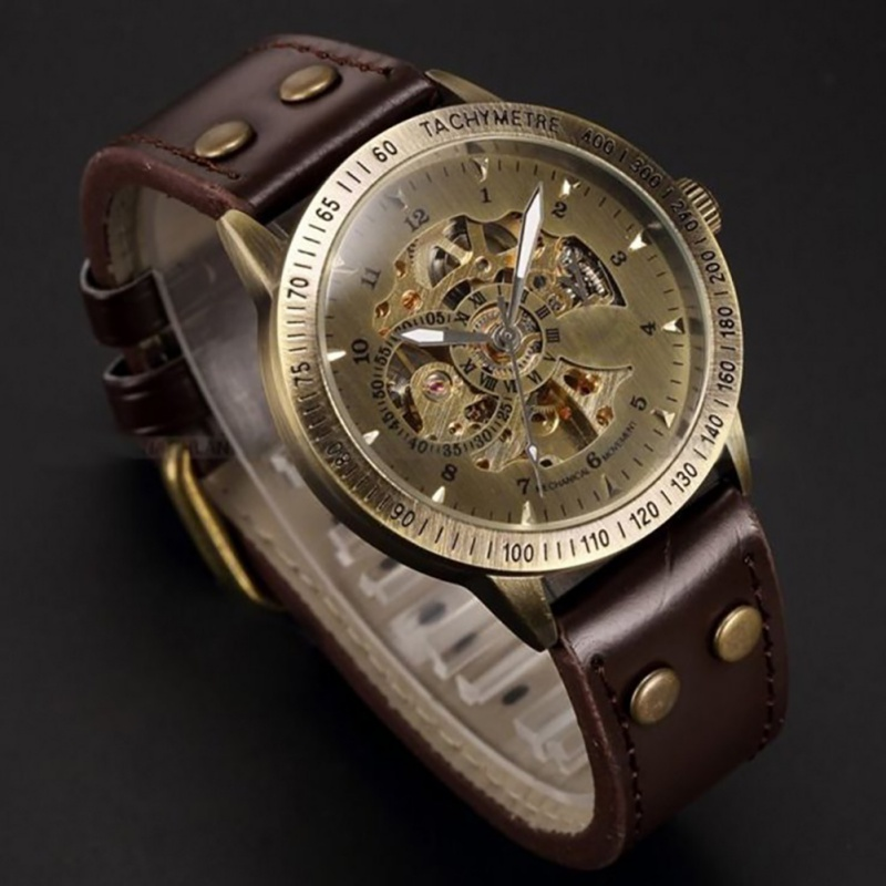 Men Wristwatches Steampunk Skeleton Power Automatic Mechanical Watches Mens Bronze Antique Leather Self Widing Wrist Watch orkina male watches skeleton auto mechanical men wrist watch mesh band heren uhr automatic wristwatches