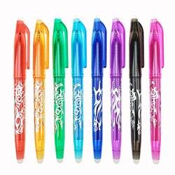 1 pc novo 0.5mm caneta apagável 1 pçs recargas colorido 8 cores ferramentas de desenho criativo estudante ferramentas de escrita papelaria escritório