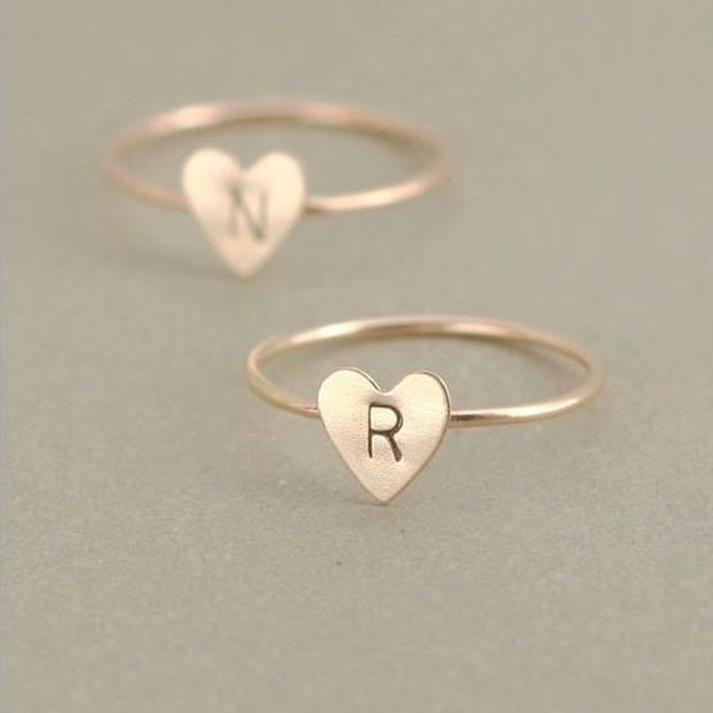 Adjustable Personalized Hand Stamped Stacking A-Z 26 Letters Initial Tiny Heart Rings for Women Gold Color Finger Rings Jewelry 3