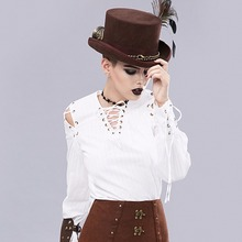 White Shirt Medieval Duke Steampunk Vintage Tops Long-Sleeve Cotton Cosplay Tees Bandage