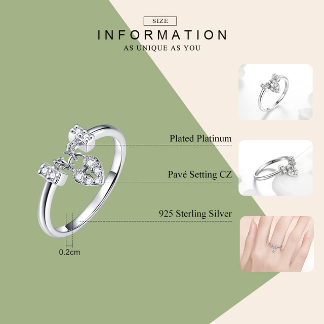 BAMOER Genuine 925 Sterling Silver Love Heart Lock Luminous CZ Wedding Rings for Women Sterling Silver Jewelry SCR466