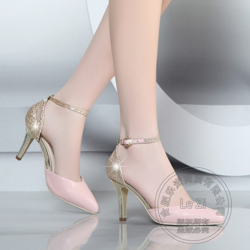 ФОТО Pumps Soft Leather Pointy Fashion Pu Cheap Red High Heel Shoes Ankle Wrap Temperament Graceful Lady Daily Hasp Adornment Nice