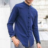 ZEESHANT Men Linen Shirts Long Sleeve Chinese Style Mandarin Collar Traditional Kung Fu Tang Casual Social
